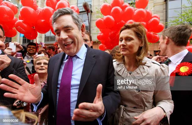 Prime Minister Gordon Brown and his wife Sarah and Jim Murphy meet with members of the public in Buchanan Street on April 24 2010 in Glasgow Scotland...