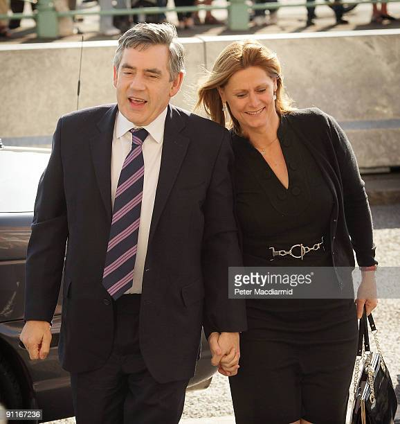 Prime Minister Gordon Brown and his wife Sarah arrive for the Labour Party Conference on September 26 2009 in Brighton England Party officials and...