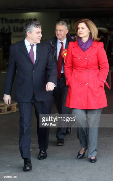 Prime Minister Gordon Brown and his wife Sarah Brown during a visit to the Yorkshire Produce Market on May 5 2010 in Leeds United Kingdom Today is...