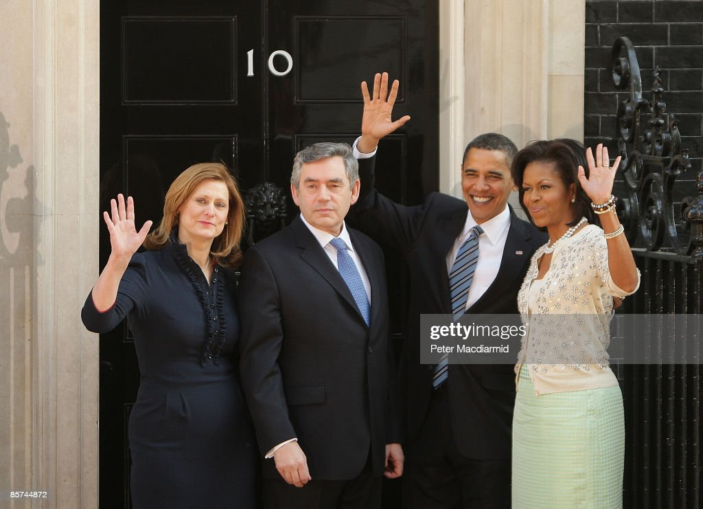 President Obama And The First Lady Arrive At Downing Street : News Photo