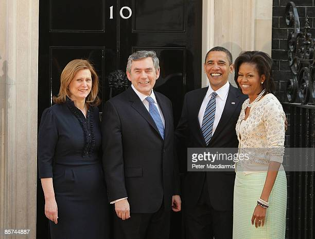 Prime Minister Gordon Brown and his wife Sarah Brown meet with US President Barack Obama and his wife first lady Michelle Obama in Downing Street on...