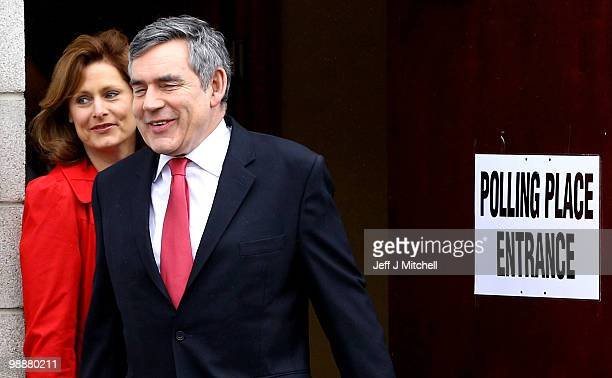 Prime Minister Gordon Brown and his wife Sarah cast their vote at a polling station on May 6 2010 in North Queensferry Scotland After 5 weeks of...