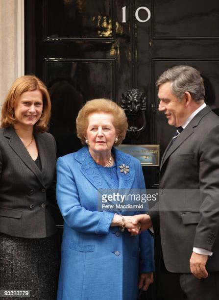 Prime Minister Gordon Brown and his wife Sarah greet Lady Thatcher at Downing Street on November 23 2009 in London Guests arrived at the official...