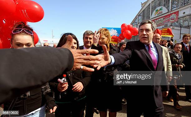 Prime Minister Gordon Brown and his wife Sarah meet with constituents on May 3 2010 in Great Yarmouth England The General Election to be held on May...