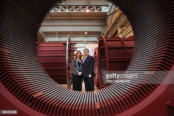 Prime Minister Gordon Brown and his wife Sarah visit the Converteam factory on April 12 2010 in Rugby England The General Election to be held on May...