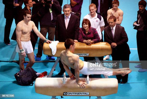 Prime Minister Gordon Brown and Olympics Minister Tessa Jowel watch a gymnast perform on the pommel horse during a visit to Loughborough University...