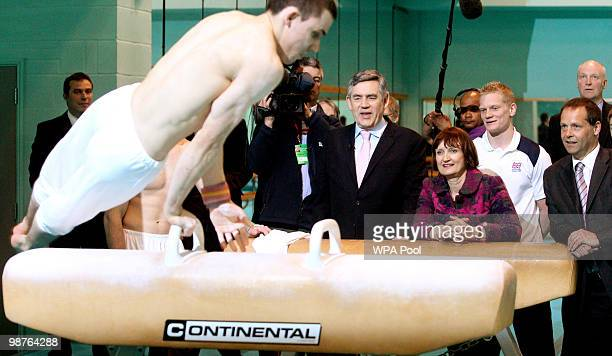 Prime Minister Gordon Brown and Olympics Minister Tessa Jowel watch students in the gym during a visit to Loughborough University on April 30 2010 in...