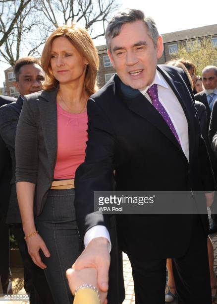 Prime Minister Gordon Brown and wife Sarah Brown meet staff and local residents at Bromley By Bow Community and Health Centre on April 8 2010 in...