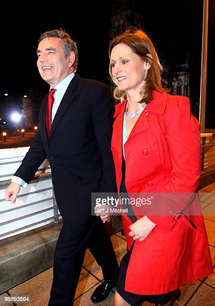 Prime Minister Gordon Brown arrives at the count in the Adam Smith College with wife Sarah on May 7 2010 in Kirkcaldy Scotland After 5 weeks of...