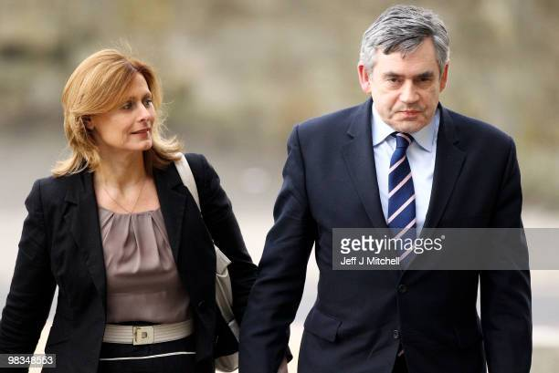 Prime Minister Gordon Brown arrives with wife Sarah at the Adam Smith College on April 9 2010 in Kirkcaldy ScotlandThe General Election to be held on...