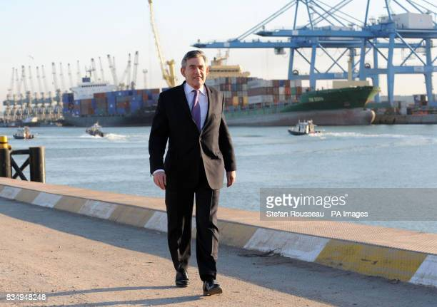 Prime Minister Gordon Brown at the port of Umm Qasr in southern Iraq during his one day visit
