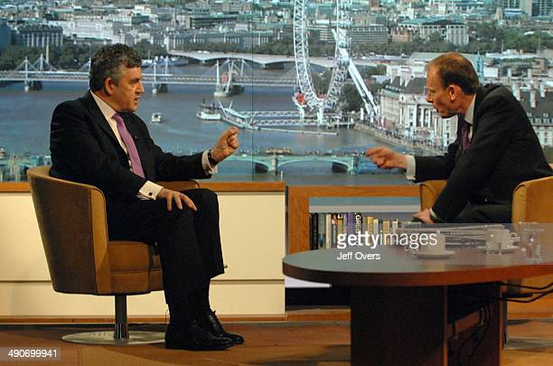 Prime Minister Gordon Brown being interviewed for the BBC1 current affairs programme The Andrew Marr Show