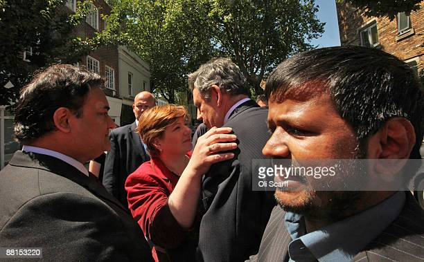 Prime Minister Gordon Brown bids goodbye to Labour MP Emily Thornberry during a visit to her constituency office on June 2 2009 in London England The...