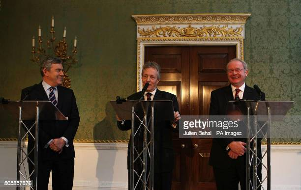 Prime Minister Gordon Brown , DUP leader Peter Robinson and Sinn Fein's Martin McGuinness during a press conference after a deal was announced about...