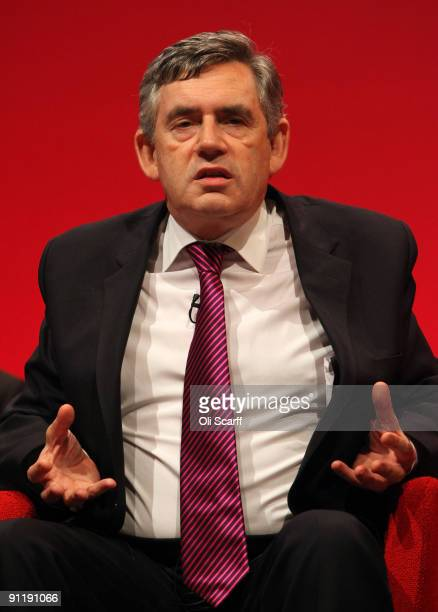 Prime Minister Gordon Brown gestures as he speaks at the Labour Party Conference on September 27 2009 in Brighton England Party officials and...