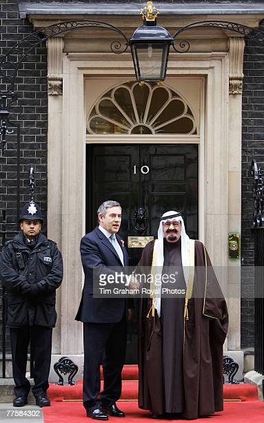 Prime Minister Gordon Brown greets King Abdullah Bin Abdul Aziz Al Saud of Saudi Arabia at 10 Downing Street during his State Visit to the United...
