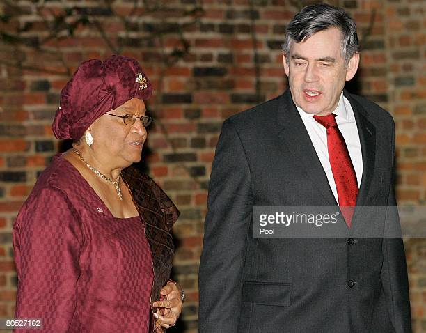 Prime Minister Gordon Brown greets Liberian President Ellen Johnson Sirleaf as she arrives at Chequers the weekend residence of Britain's Prime...