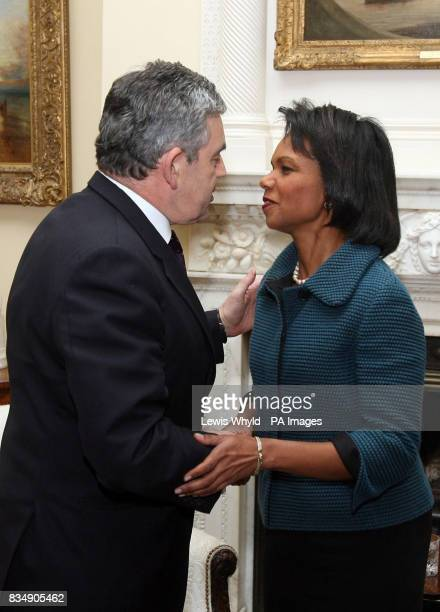 Prime Minister Gordon Brown greets US Secretary of State Condoleezza Rice at 10 Downing Street central London