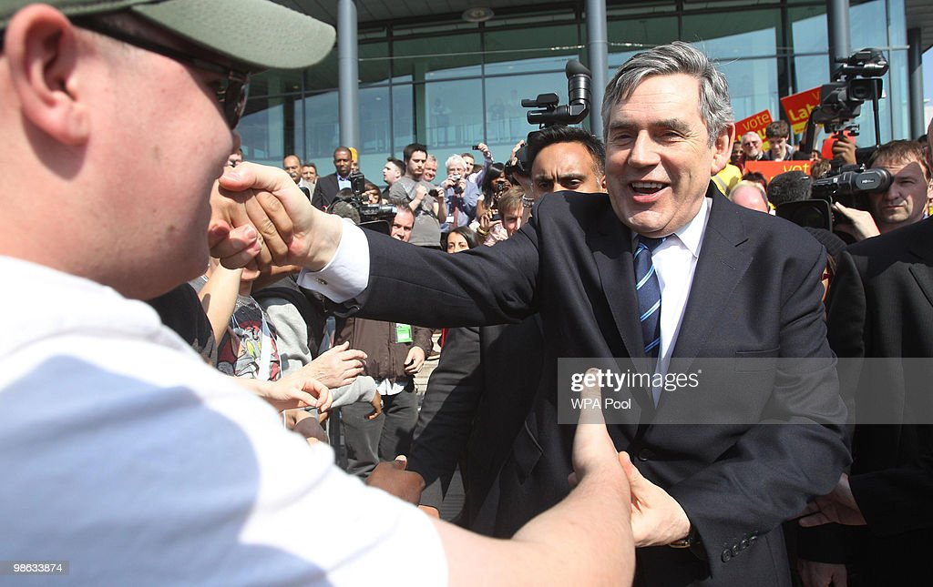 Prime Minister Gordon Brown greets voters at Coventry College on April 23, 2010 in Bedworth, England. The General Election, to be held on May 6, 2010, is set to be one of the most closely fought political contests in recent times with all main party leaders embarking on a four week campaign to win the votes of the United Kingdom electorate.