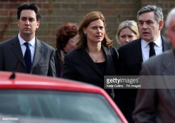 Prime Minister Gordon Brown his wife Sarah and Ed Miliband at Golders Green Crematorium for the funeral of former Labour leader Michael Foot