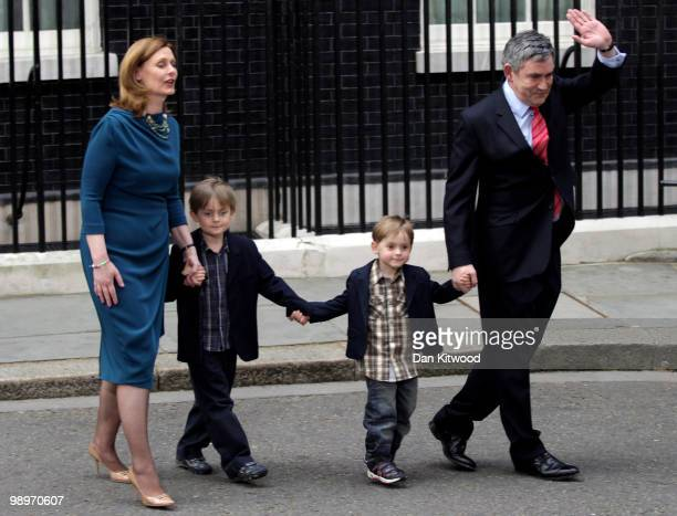 Prime Minister Gordon Brown his wife Sarah Brown and children James Fraser and John leave Downing Street on May 11 2010 in London England After five...