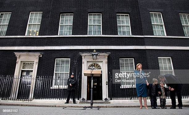 Prime Minister Gordon Brown his wife Sarah Brown and son's James Fraser and John leave Downing Street on May 11 2010 in London England After five...