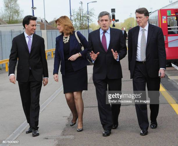 Prime Minister Gordon Brown his wife Sarah with Business Secretary Lord Mandelson and Energy Secretary Ed Miliband arrive at Oxford Station where...