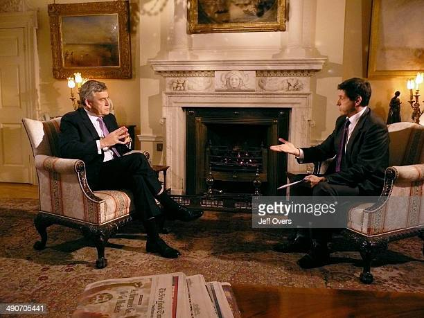 Prime Minister Gordon Brown is interviewed by Jon Sopel on the BBC Politics Show on November 23 2008 in London England Gordon Brown refused to...