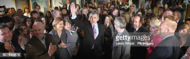 Prime Minister Gordon Brown is joined by his wife Sarah Schools secretary Ed Balls and Ross Kemp as he speaks to students at Warwickshire College in...
