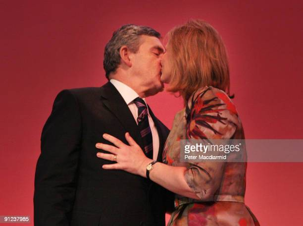 Prime Minister Gordon Brown is kissed by his wife Sarah after speaking to the Labour Party Conference on September 29 2009 in Brighton England Gordon...