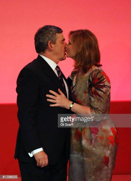 Prime Minister Gordon Brown kisses his wife Sarah after addressing the Labour Party Conference on September 29 2009 in Brighton England In what will...
