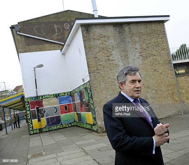Prime Minister Gordon Brown meets with members of the public at the local community centre during a visit to the Bedwell Estate on January 21 2009 in...
