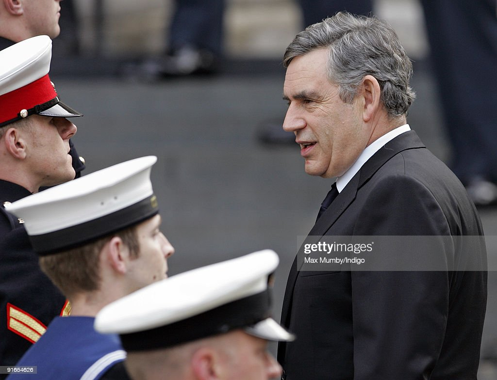 Prime Minister Gordon Brown MP talks with military personnel as he attends a service of commemoration to mark the end of combat operations in Iraq at St Paul's Cathedral on October 9, 2009 in London, England.