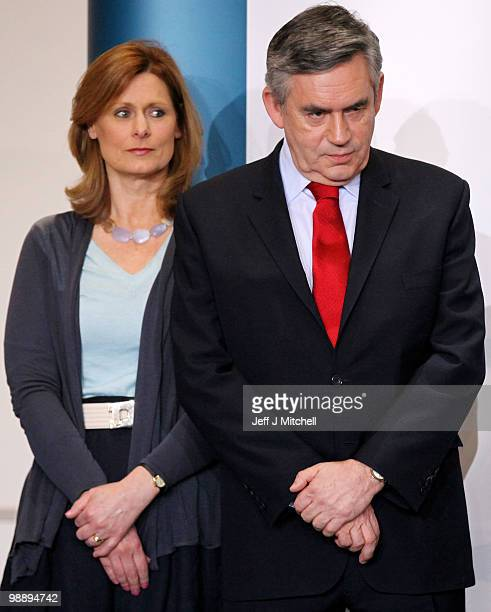 Prime Minister Gordon Brown prepares to make his acceptance speech as his wife Sarah after retaining his parliamentary seat on May 7 2010 in...