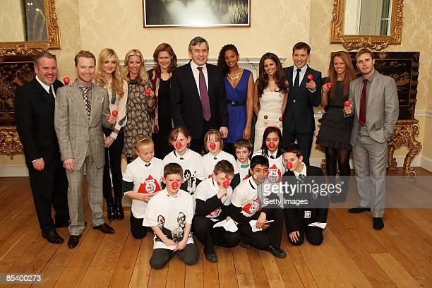 Prime Minister Gordon Brown Sarah Brown Fearne Cotton Cheryl Cole Ronan Keating Chris Moyles Gary Barlow Kimberley Walsh Ben Shepherd and Alysha...