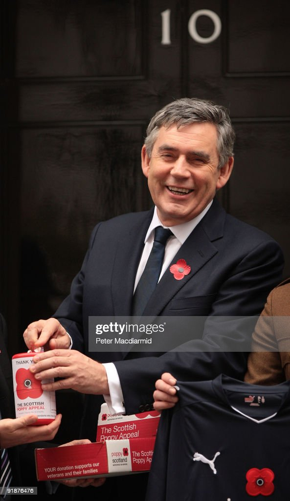 Gordon Brown Meets Scottish Poppy Appeal Soldier