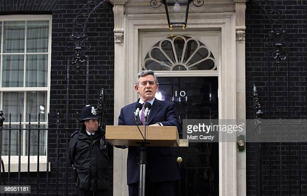 Prime Minister Gordon Brown speaks about the current state of Government and announces that he will step down as Labour leader, outside number 10...