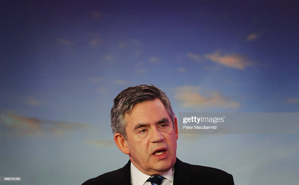 Prime Minister Gordon Brown speaks to reporters, as the Labour Party continue their election campaign on April 23, 2010 in London, England. The General Election, to be held on May 6, 2010, is set to be one of the most closely fought political contests in recent times with all main party leaders embarking on a four week campaign to win the votes of the United Kingdom electorate.
