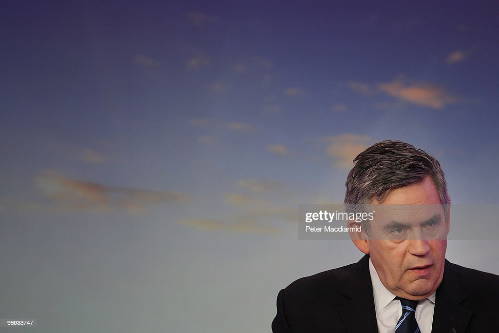 Prime Minister Gordon Brown speaks to reporters on April 23, 2010 in London, England. The General Election, to be held on May 6, 2010, is set to be one of the most closely fought political contests in recent times with all main party leaders embarking on a four week campaign to win the votes of the United Kingdom electorate.