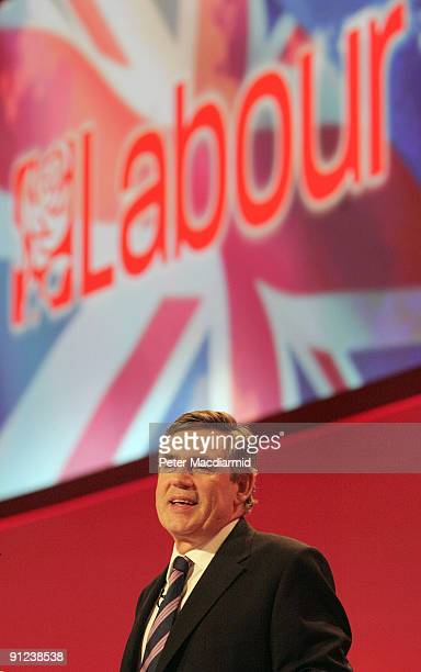 Prime Minister Gordon Brown speaks to the Labour Party Conference on September 29, 2009 in Brighton, England. Gordon Brown's speech to delegates is...