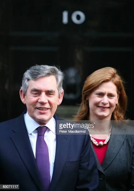 Prime Minister Gordon Brown stands on the steps of Number 10 Downing Street with his wife Sarah Brown on October 1 2008 in London Mr and Mrs Brown...