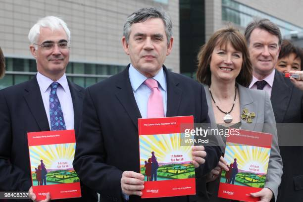 Prime Minister Gordon Brown stands with his chancellor Alistair Darling and Labour party Deputy Leader Harriet Harman as he launches the Labour Party...