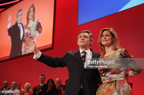 Prime Minister Gordon Brown stands with his wife Sarah after speaking to the Labour Party Conference on September 29 2009 in Brighton England Gordon...