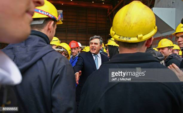 Prime Minister Gordon Brown takes a tour of BVT shipyard in Govan on April 16 2009 in Glasgow Scotland Ministers will gather in Glasgow today for the...