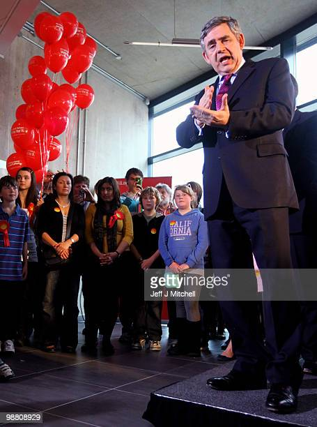 Prime Minister Gordon Brown talks to with Lanour supporters at University Campus Suffolk on May 3 2010 in Ipswich England The General Election to be...