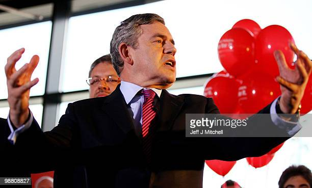 Prime Minister Gordon Brown talks with Labour supporters at the University Campus Suffolk on May 3 2010 in Ipswich England The General Election to be...