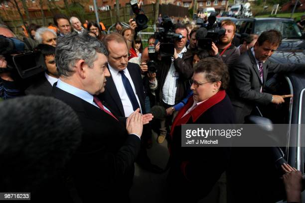Prime Minister Gordon Brown talks with resident Gillian Duffy on April 28 2010 in Rochdale England The General Election to be held on May 6 2010 is...