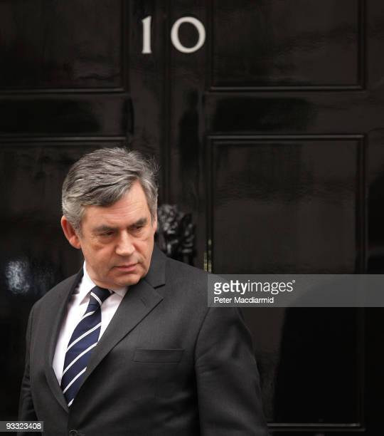 Prime Minister Gordon Brown waits to greet Lady Thatcher at Downing Street on November 23 2009 in London Guests arrived at the official home of the...