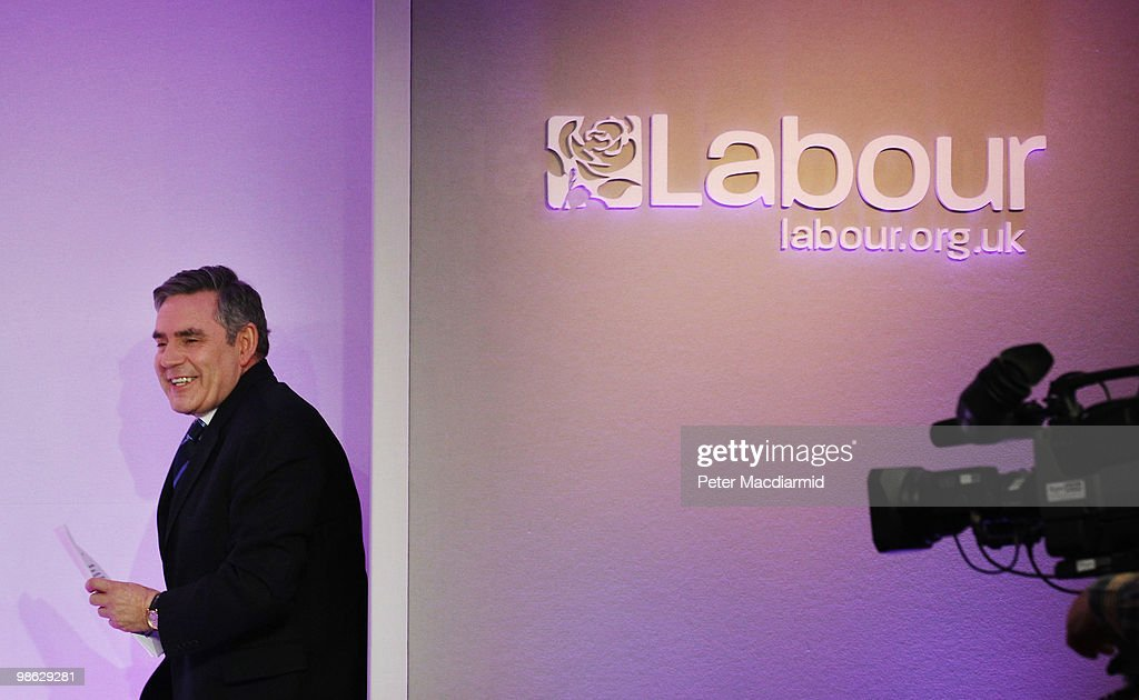 Prime Minister Gordon Brown walks into a press conference, as the Labour Party continue their election campaign on April 23, 2010 in London, England. The General Election, to be held on May 6, 2010 is set to be one of the most closely fought political contests in recent times with all main party leaders embarking on a four week campaign to win the votes of the United Kingdom electorate.