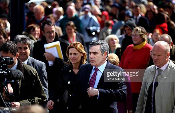 Prime Minister Gordon Brown walks with his wife Sarah as he meets with constituents on May 3 2010 in Great Yarmouth England The General Election to...